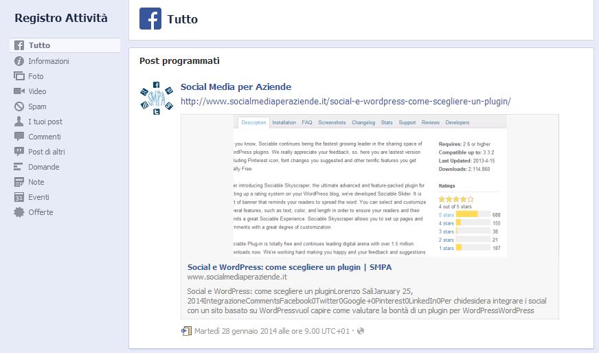 Pagina Facebook - registro attività