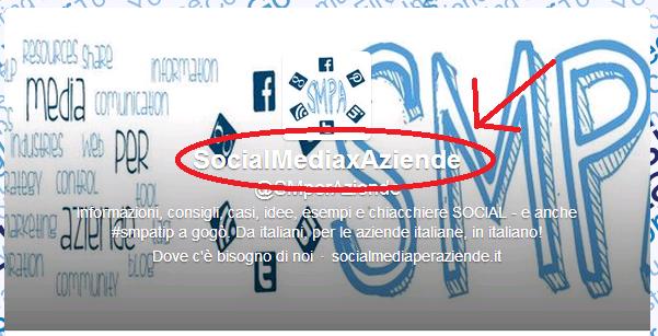 Social media per aziende - Twitter Profile Nome
