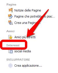 Facebook - liste di interessi