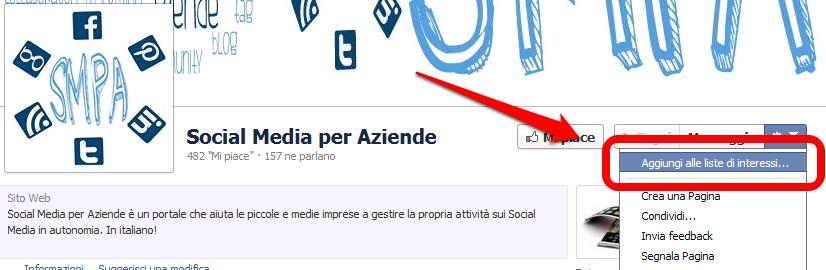 Facebook - aggiungere una pagina ad una lista