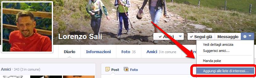 Facebook - aggiungere un profilo ad una lista