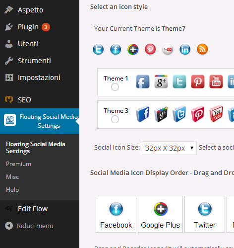 Floating social media icon settings