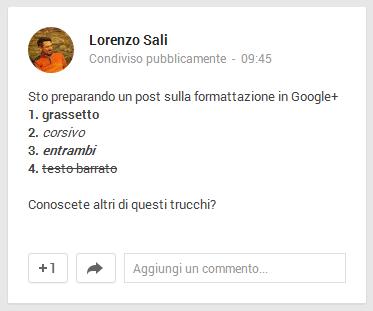 Formattazione google+
