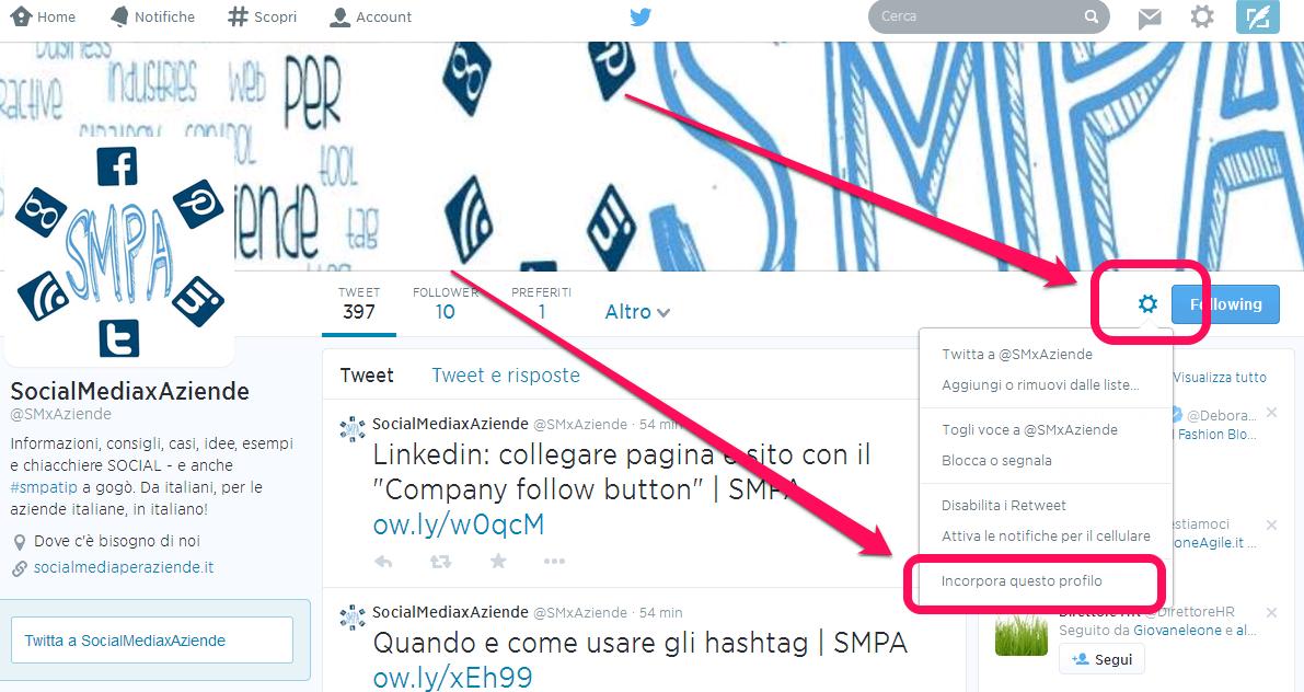 Incorporare un profilo twitter in un sito wordpress