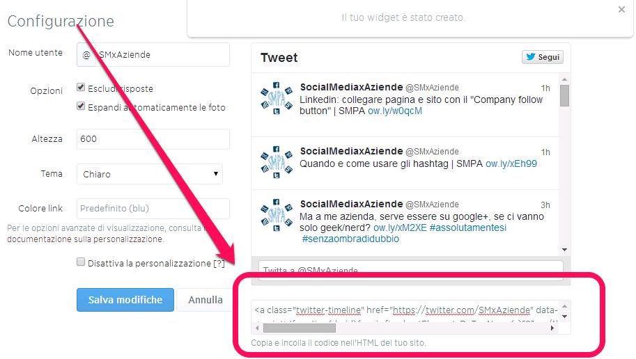 Creare il widget per incorporare un profilo twitter in un sito wordpress