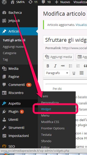 Sezione widget di un sito wordpress