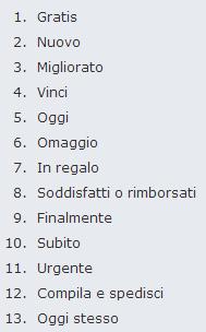 Lista parole efficaci di Gianni Lombardi