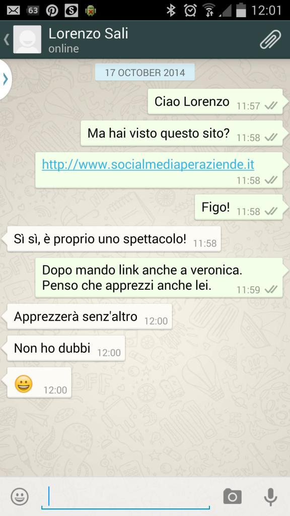 Scambio privato su whatsapp