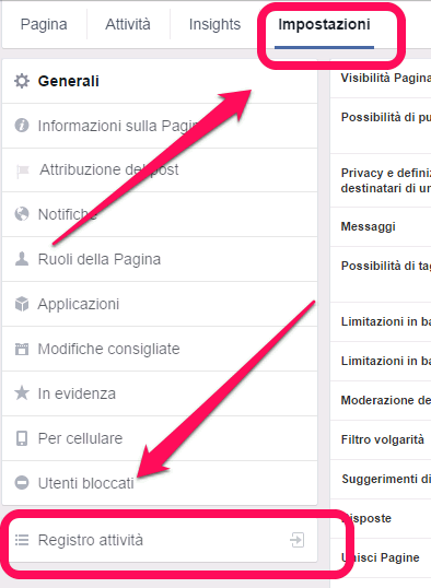 Facebook - registro attivita