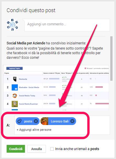 Condivisione post su google+