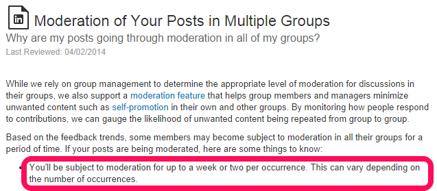 Moderazione dei post di linkedin