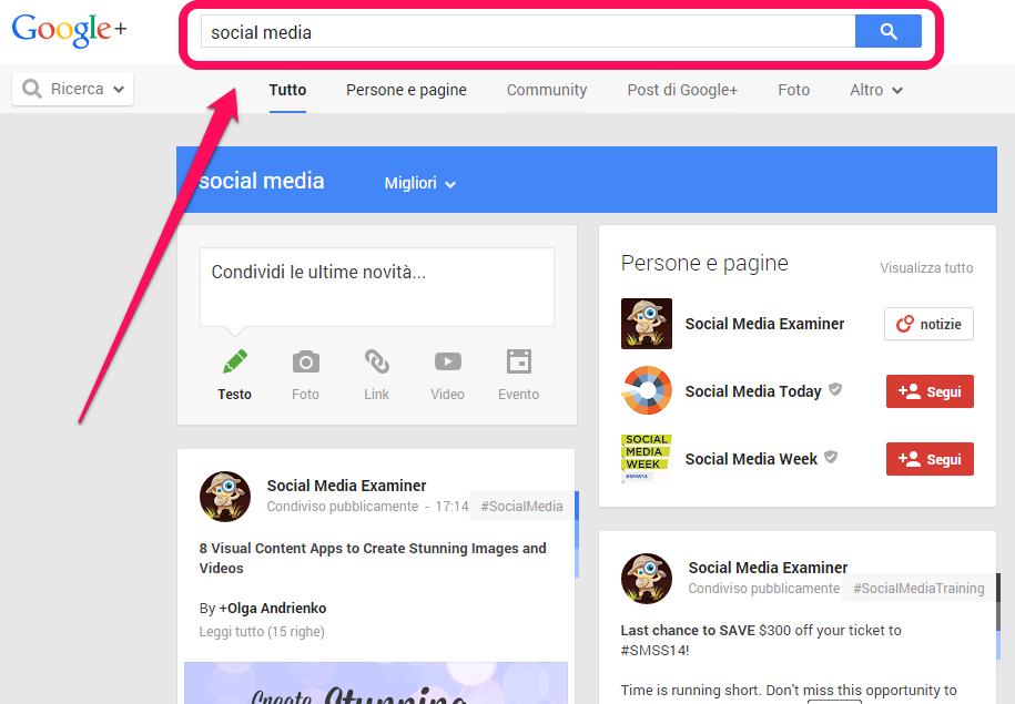 Ricerca Google Plus