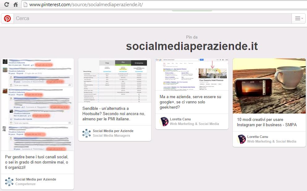 Pinterest - pin da socialmediaperaziende.it