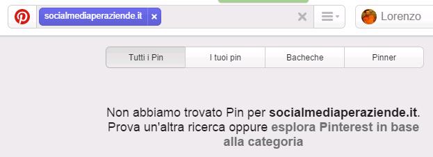 Pinterest - ricerca dei pin provenienti da un sito