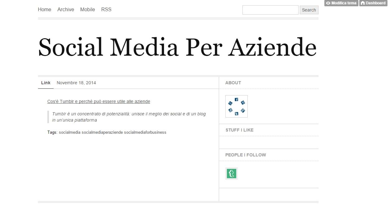Social Media Per Aziende Tumblr