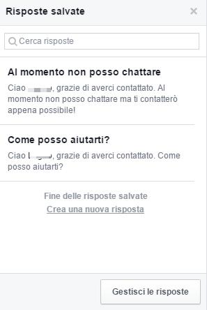 risposte automatiche pagina facebook