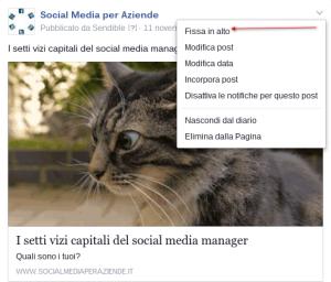 facebook fissare in alto